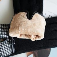 羊毛手套女士秋冬天时尚加绒加厚保暖百搭开车手套五指分指可触屏