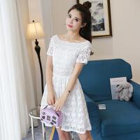实拍一字领蕾丝连衣裙2018夏装新款甜美百搭修身白色露肩裙子女