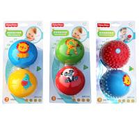 费雪12个月宝宝初级训练球F0903手抓拍拍球捏捏叫按摩球两个装F0908婴儿童玩具