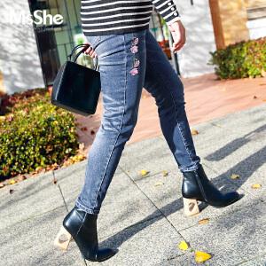 MsShe加大码女装2017新款秋装弹力刺绣中腰修身牛仔裤M1740294