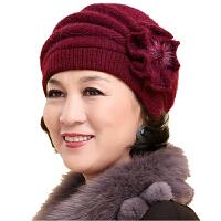 帽子女士老人帽秋冬天保暖中老年人妈妈帽针织毛线帽加绒棉帽 均码
