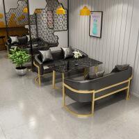 休息区桌椅奶茶店星巴克卡座沙发甜品店西餐厅双人咖啡厅沙发 黑色 三人座