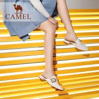 camel骆驼女鞋2019新款春季英伦风女拖真皮低跟包头拖鞋女粗跟穆勒鞋女