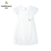 【1件5折折后价155.4】马克华菲童装女童连衣裙2019春夏新款儿童韩版洋气白色公主A字裙
