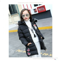 女童棉衣中长款2017新款韩版女孩季羽绒儿童装中大童棉袄 黑色