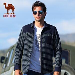 骆驼男装 衬衫 男士长袖衬衫 休闲格子衬衫