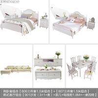 家具欧式床双人床主卧1.8实木床韩式田园高箱床储物公主婚床