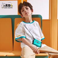 【3件2折:41.8元】小虎宝儿儿童短袖t恤男童纯棉上衣2021夏季新款中大童宽松