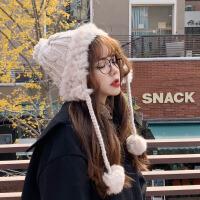 毛线帽女秋冬天雷锋帽子保暖时尚韩版甜美可爱冬季护耳毛球套头针织帽