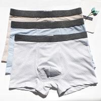 3条装夏天文艺青年格子日系潮纯棉透气薄男士内裤男平角中腰裤衩 蓝 咖啡 灰