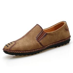 罗兰船长  时尚休闲鞋皮鞋防滑耐磨套脚商务鞋子 D