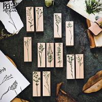 陌墨手帐装饰用印万叶集木质印章原木橡胶图章尤加利情人草似玲兰