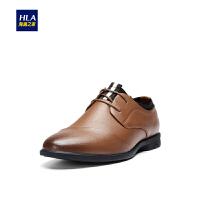 HLA/海澜之家光泽感系带皮鞋2019春季新品纯色圆头皮鞋男