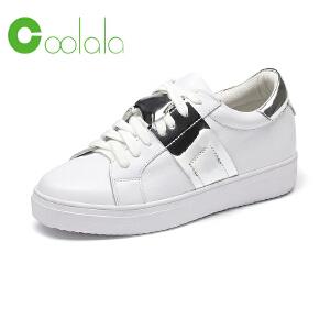 红蜻蜓coolala女鞋2017新款女单鞋真皮运动休闲板鞋小白鞋