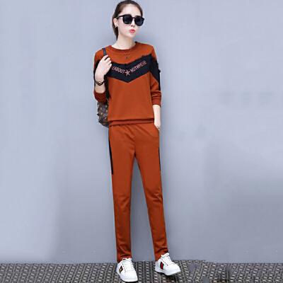 套装 女士圆领印花长袖套装2020年秋季新款韩版时尚女式休闲女装卫衣两件套 圆领印花长袖卫衣两件套