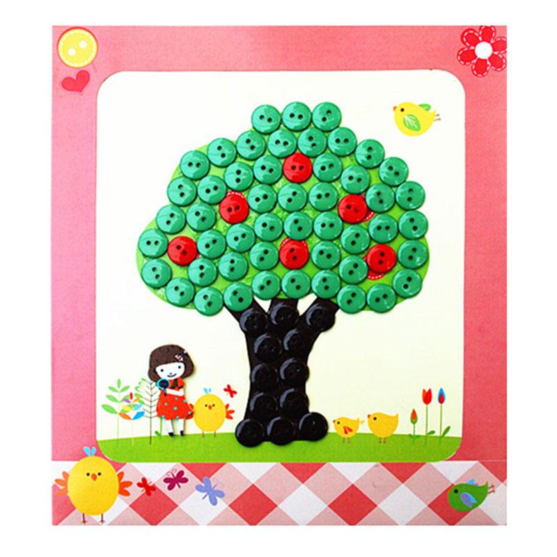 梦童工坊 diy纽扣画 儿童手工制作钮扣子幼儿园粘贴画装饰画玩具_苹果