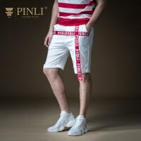 PINLI品立2019夏季新款男装沙滩裤五分裤直筒休闲短裤B192217587
