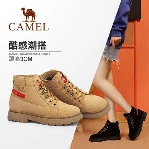 骆驼女鞋2018冬季新款马丁靴 时尚韩版瘦瘦靴短靴女低跟系带女靴