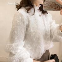 春装新款韩版大码钩花蕾丝衫女加绒保暖木耳边半高领上衣打底衫潮