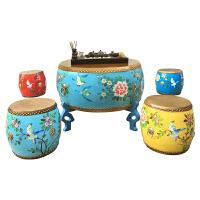功夫茶几 实木中式小户型简约现代喝茶矮茶艺桌鼓凳 圆形茶几新品 整装