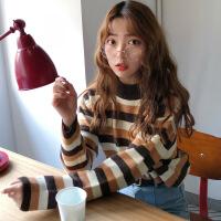 韩国秋冬学院风宽松百搭条纹撞色加厚长袖套头针织毛衣女新款 均码