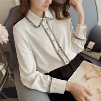 2018春季新款韩版白衬衫女长袖宽松POLO领学生打底衬衣4570