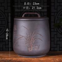 茶叶罐陶瓷家用大号宜兴紫砂茶叶罐七饼手工大号普洱茶存储醒茶缸密封罐茶具促销