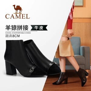 骆驼女鞋冬季新款短靴 时尚休闲韩版百搭瘦瘦靴高跟女靴女