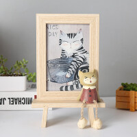 创意相框个性复古木质6寸摆台可爱猫咪相架摆件铁艺画框水培简约新款居家 6寸
