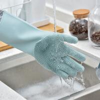 百露硅胶洗碗手套女洗碗神器防水刷碗洗衣家务加厚魔术多功能手套