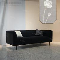现代简约北欧丝绒三人沙发不锈钢布艺沙发组合家用商务办公休闲椅 其他