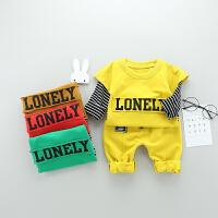 百槿 童装男童春装套装1-2-3岁婴儿春秋季男宝宝运动衣服卫衣两件套潮