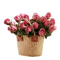 假花摆件仿真玫瑰花束客厅摆设装饰花艺塑料花餐桌花绢花插花花艺 3束+玻璃花瓶