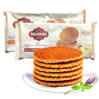 KDV俄罗斯进口零食拉丝华夫饼干 蜂蜜焦糖味290g袋瓦夫饼