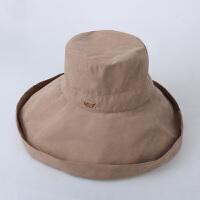 遮阳帽女夏天户外出游防晒紫外线大沿可折叠太阳帽渔夫帽日系盆帽