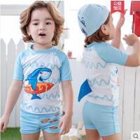 儿童泳衣男童泳裤套装户外新款鲨鱼男童分体游泳衣韩版宝宝防晒泳装泳帽