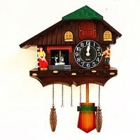 布谷鸟挂钟布谷鸟壁挂钟玩偶田园客厅挂钟咕咕钟创意卡通儿童房小鸟报时钟表 20英寸