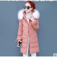 冬季新款韩版小个子时尚加厚大毛领棉袄中长款羽绒棉服女装