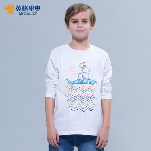 2018秋装新款男童中大童休闲纯棉薄款体恤印花圆领长袖T恤打底衫