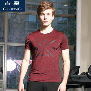 夏季新款男士圆领短袖T恤休闲运动体恤反光印花半袖修身上衣古星