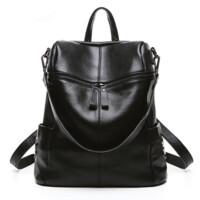 女款双肩包软皮牛皮旅行包女士背包简约时尚休闲包