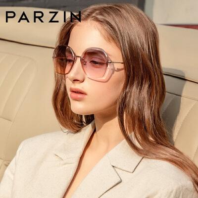 帕森2019新款太阳镜女士复古无框多边形防紫外线墨镜小脸眼镜8224 时尚渐变 尼龙太阳镜片 高清舒适 潮搭配饰