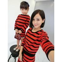 亲子装2018春装新款韩版圆领条纹一家四口毛衣家庭装母女装针织衫 红色
