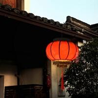 新中式吊灯大红灯笼门厅酒店饭店阳台灯笼仿羊皮布艺灯笼中国风