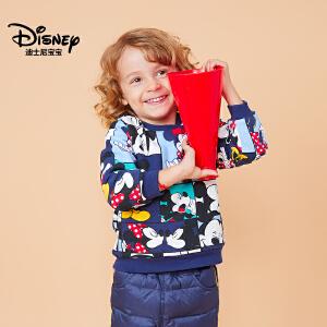 迪士尼宝宝童装中小童迪斯尼经典男童针织潮流毛圈夹棉卫衣2018秋款上新