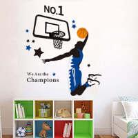 斯图(sitoo) 客厅卧室背景大面积可移除墙贴 壁纸 装饰贴 篮球灌篮 8980