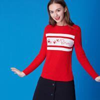 欧莎2016冬装圣诞风绣花套头圆领毛衣毛针织衫女D16023