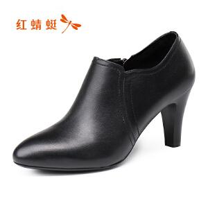 红蜻蜓女鞋2017秋季新款正品时尚尖头高跟鞋女真皮粗跟单鞋踝靴