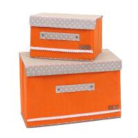 优芬彩色大小两件套扣扣收纳箱日式收纳盒无纺布储物箱 桔色
