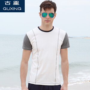 (满100减30/满279减100)古星夏季男士运动短袖T恤圆领休闲柔软薄款透气时尚潮流上衣